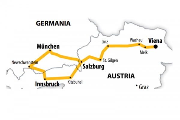 Harta Circuit Austria Castelele Bavariei | 7 zile - Autocar | 2021