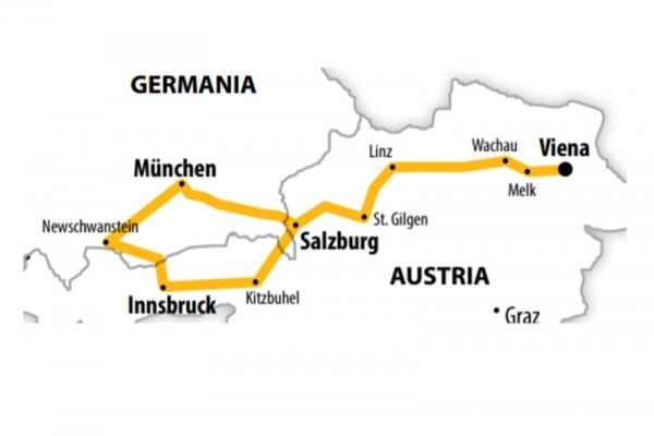 Harta Circuit Austria - Castelele Bavariei | 5 zile - Avion | 2020