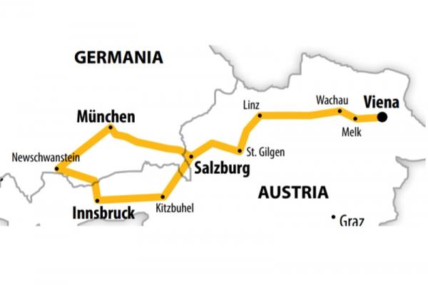 Harta Circuit Austria Castelele Bavariei | 7 zile - Autocar | 2020