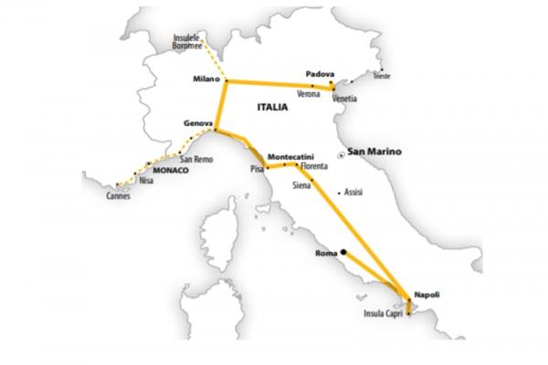 Harta Circuit Italia - Marile Lacuri - Coasta de Azur - Insula Capri | 9 zile - Avion | 2020