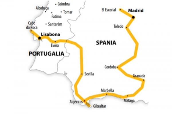 Harta Circuit Portugalia - Andaluzia   8 zile - Avion   2020
