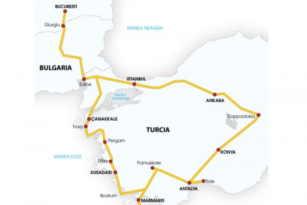 Harta Circuit Turcia - Cappadocia  |  12 zile - Autocar | 2020
